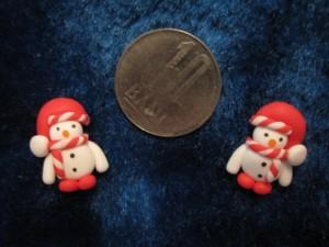 accesorii de iarna-cercei-de-iarna-omuleti-de-zapada-caciulita-lasata-rosu