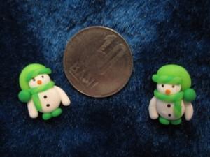 accesorii de iarna-cercei-de-iarna-omuleti-de-zapada-caciulita-lasata-verde