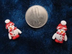 accesorii de iarna-cercei-de-iarna-omuleti-de-zapada-caciulita-mica-rosu