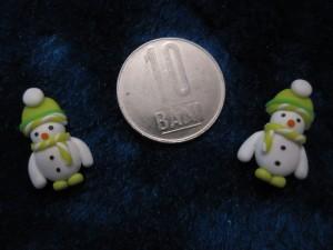 accesorii de iarna-cercei-de-iarna-omuleti-de-zapada-caciulita-mica-verde crud